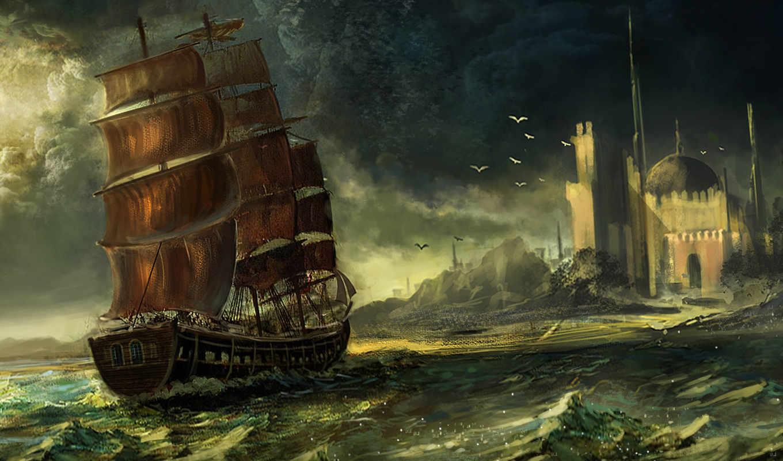 парусник, море, корабль, арт, город, купол, разное, mallick, waqas, код, картинка, корабли,