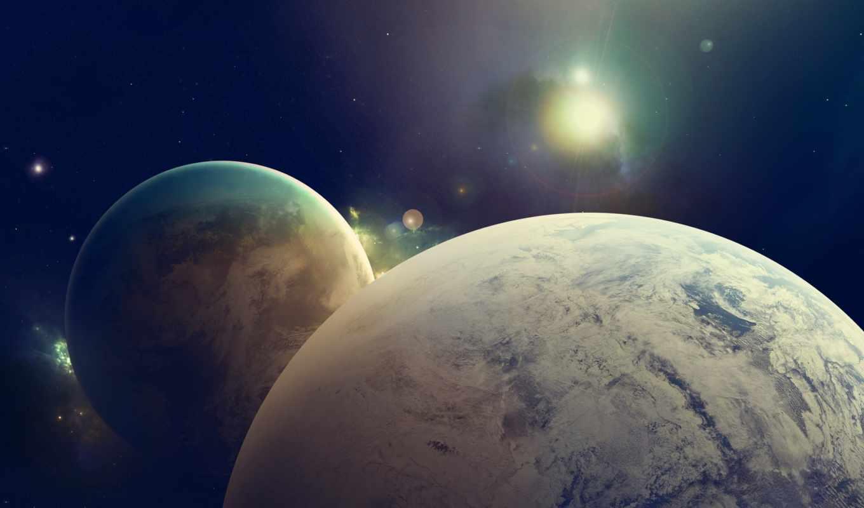 звезды, планета, свет, спутник, planets, outer, space,