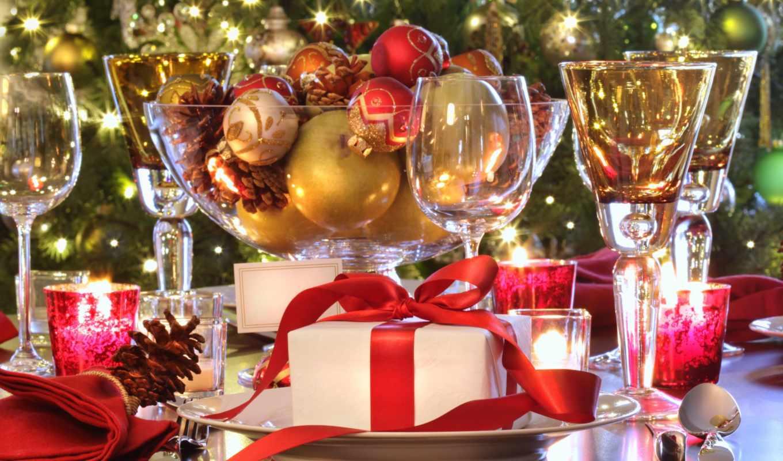 год, новый, holiday, свечи, christmas, table, сервировка, пусть, картинка, подарок, бакалы, елочные, elegant, бесплатные, родарки, игрушки, новогодние, бокалы,