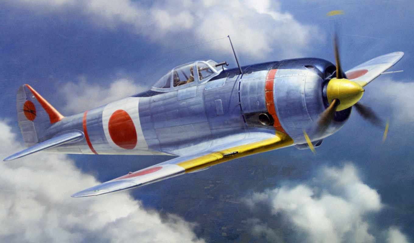 ww, истребитель, war, art, japanese, живопись, airplane,