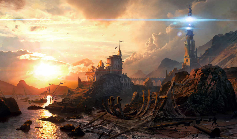 свет, sci, lighthouse, море, закат, fantasy,