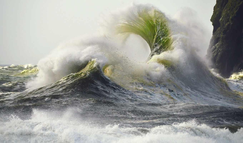 брызги, буря, waves, пенка, скалы, море,