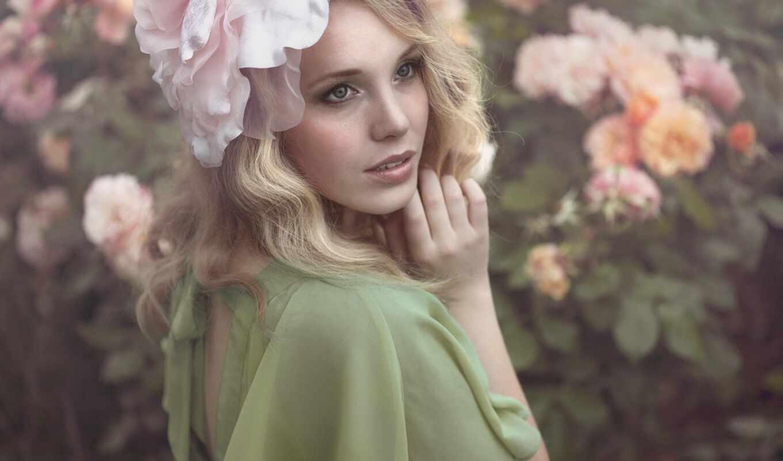 девушка, цветы, роза, blonde, весна, модель