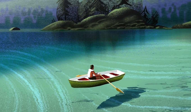 лодочник, mac, лодка, окно