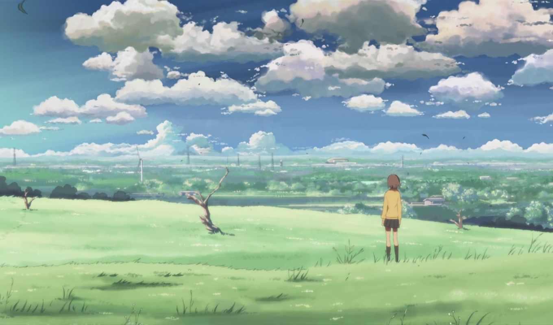 аниме, сантиметров, секунду, anime, centimeter, девушка, макото, синкай, картинка, per, centimeters, небо, girls, second, byousoku,