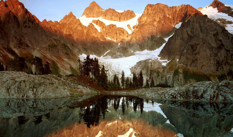 mountains, forest, water, mount, washington, shuksan, , ann, lake, agua, reflejos, free, rboles, monta