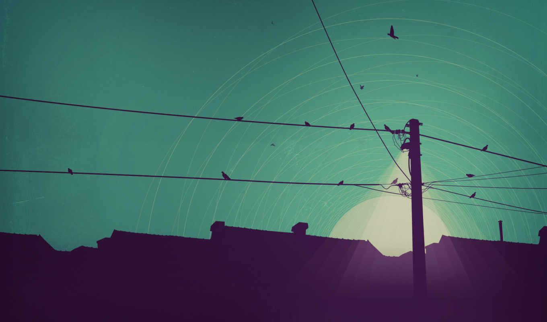 минимализм, арт, ночь, фонарь, дома, свет, вектор, луна, электропередачи, линия, картинку, картинка,