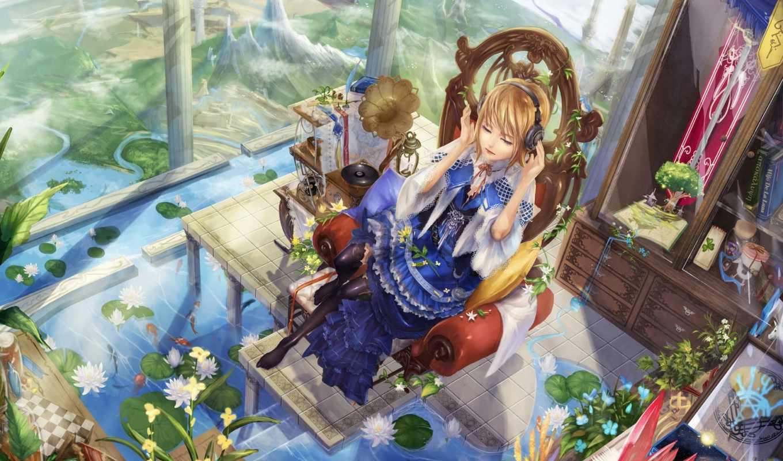 anime, девушки, весна, девушка, art, волки, широкоформатные, фантастика, рыбы,