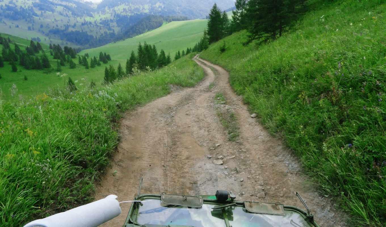 ,горы,дорога,трава,машина