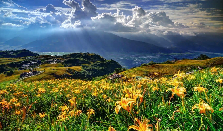 ,природа, горы, цветы, облака, свет,
