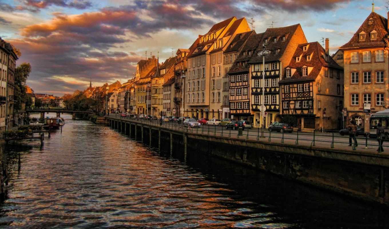 ill, франция, strasburg, rzeka, kamienice, słońca, zachód,