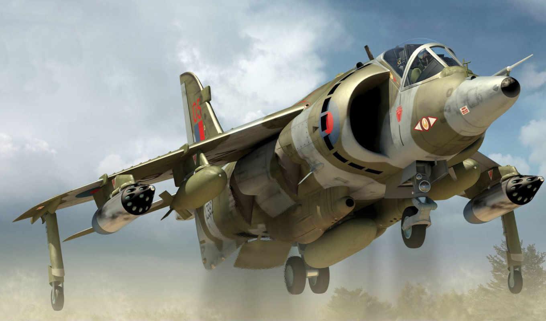 гр, harrier, вертикального, реактивный, самолёт, взлёта, посадки, прыжок,