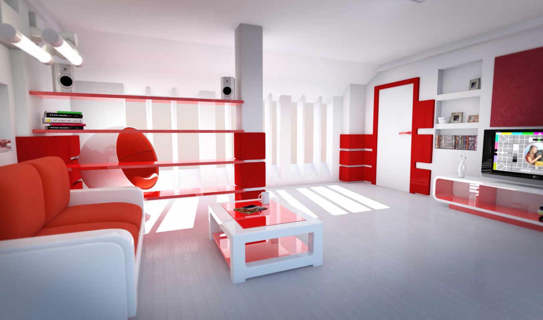 комната, стиль, красные, тона, светлая,