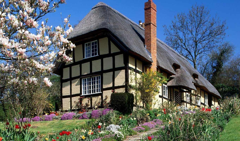 домики, провинции, английской, сказочные, крыши, соломенные, английский, англии, крыш,