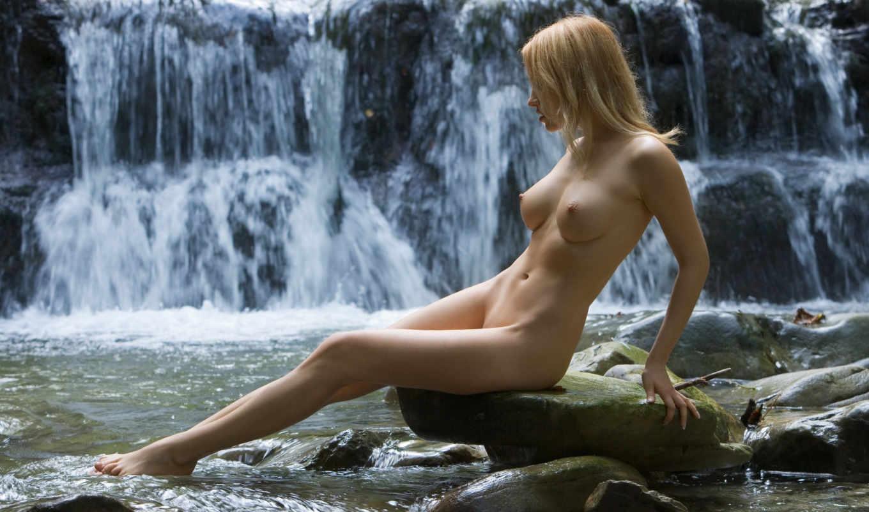 девушки, водопада, sexy, girls, девушка, водопад, камнях,