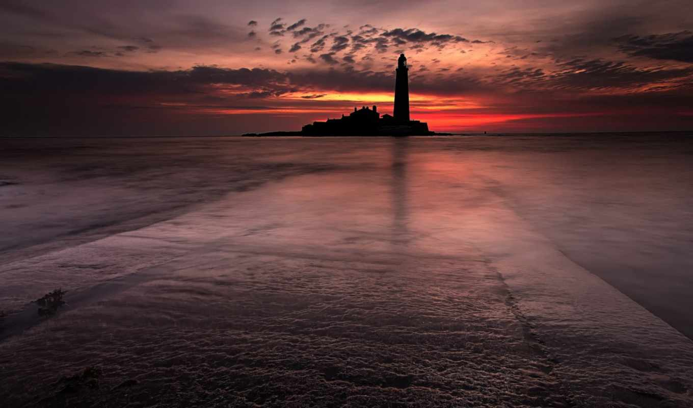море, маяк, landscape, desire, lighthouse, закат, ночь,