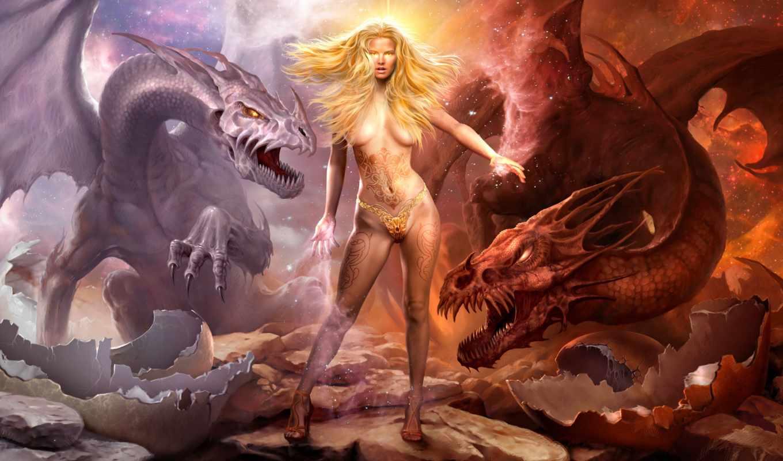 драконы, заставки, девушка, магия, дракон,