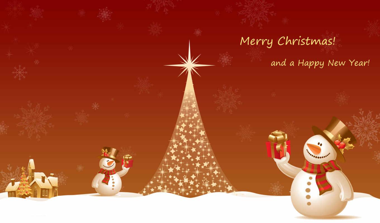 год, новогодние, new, монитора, любого, снеговик,