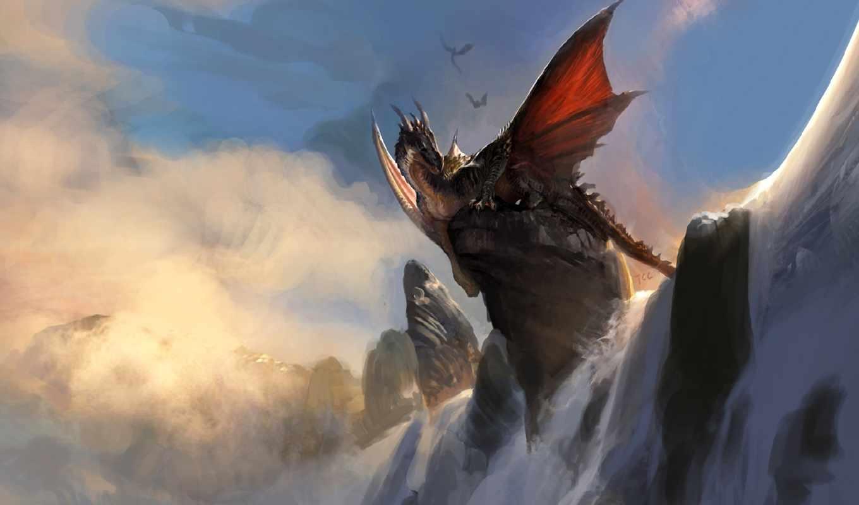 дракон, art, rock, водопад, снег, сидя, битва, скалы, драконы,