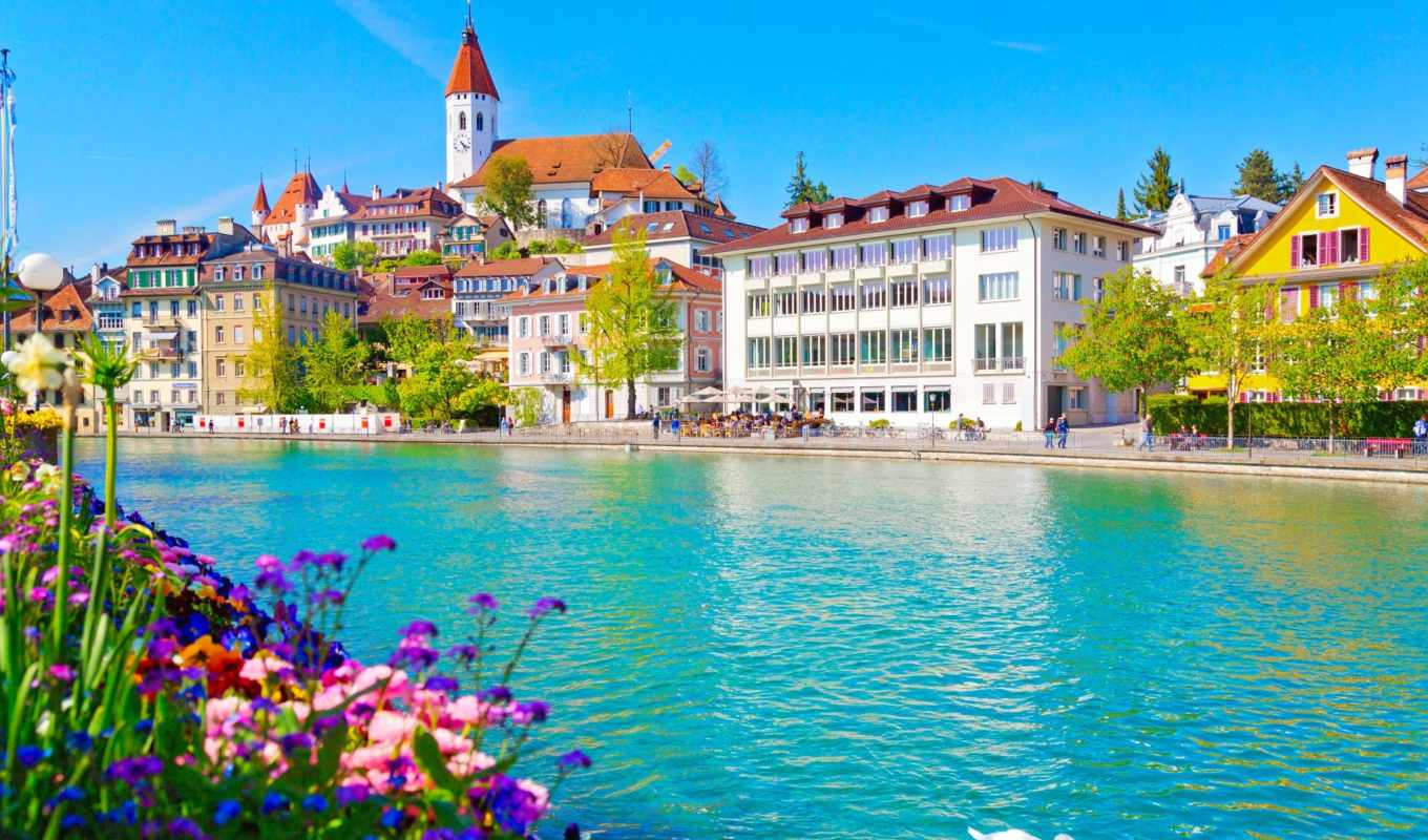 swiss, город, thun, notebook, река, general, thoune, house, lac, spiez, озеро