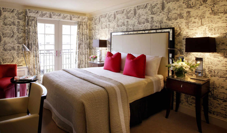 интерьер, дизайн, квартира, комната, кровать, цветы, стиль, мебель, балкончик, деревянная,