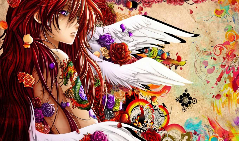 anime, краски, цветы, тату, дракон,
