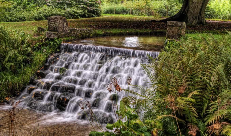 картинка, hdr, cascading, desktop, фон, водопад, природа, waterfalls, fantastic, пруд,