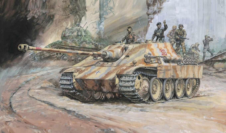 second, рисунок, мировая, сау, самоходно, installation, немцы, танков, артиллерийская, ягдпантера,