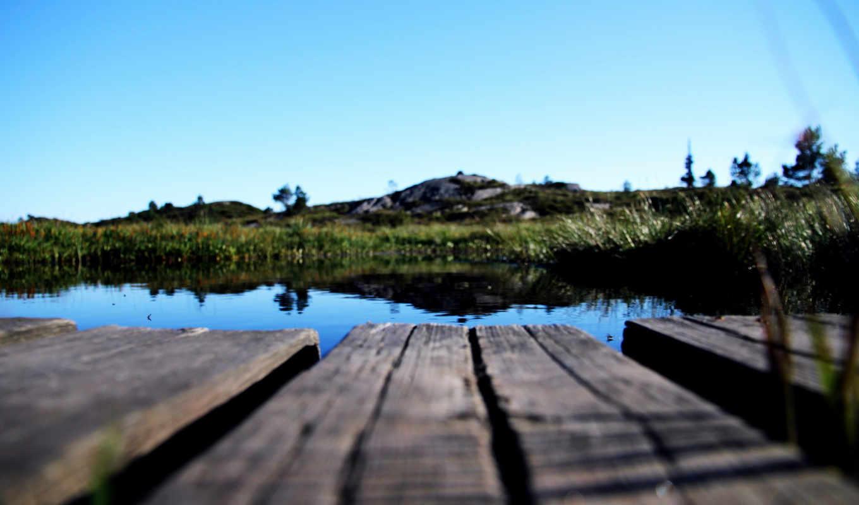мостик, озеро, река, вода, природа, растения, реку, через, марта,