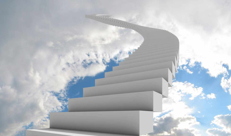 лестница, небо, облака, боязнь, климакофобия,