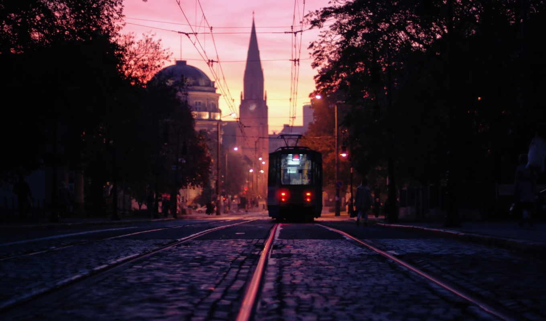 город, tram, poland, познань, best, pack, вечерний,
