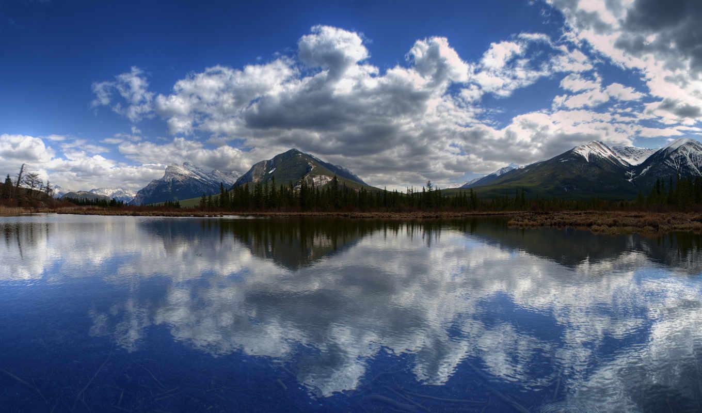 лес, горы, вода, облака,