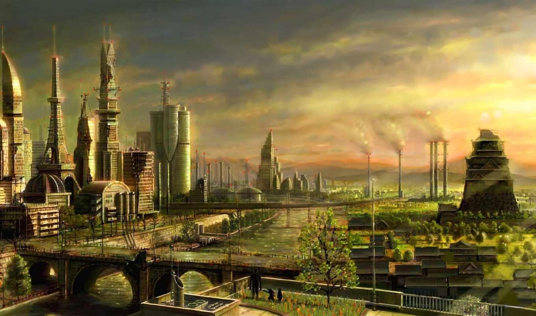 город, фэнтези, люди, река, art, развалины, мост,
