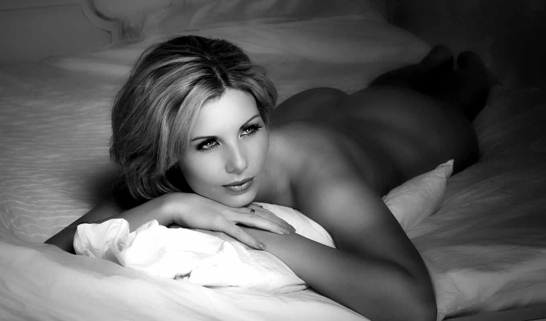 голая, девушка, кровать, красивые, чб, love,