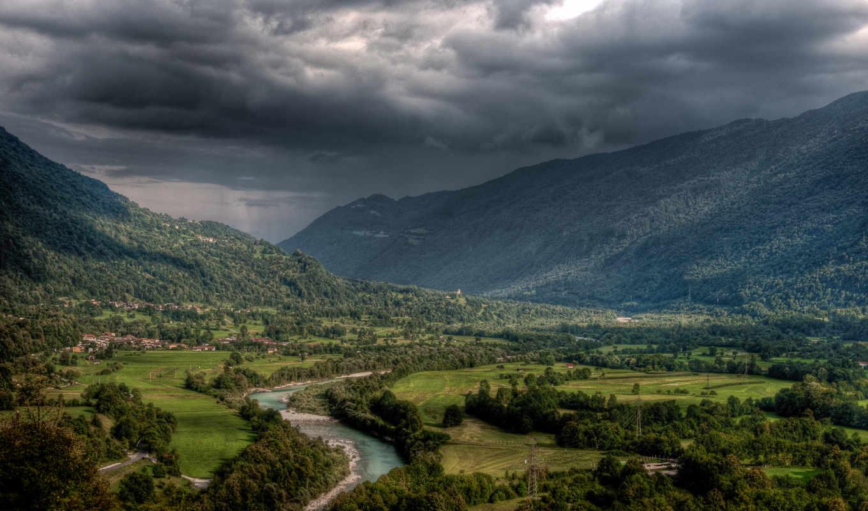 природа, summer, широкоформатные, hdr, река, slovenia, горы,