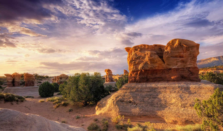 пустыня, небо, высокого, камни,