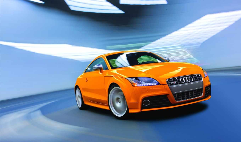 ауди, картинка, оранжевый, скорость, машины, авто, color, машина,
