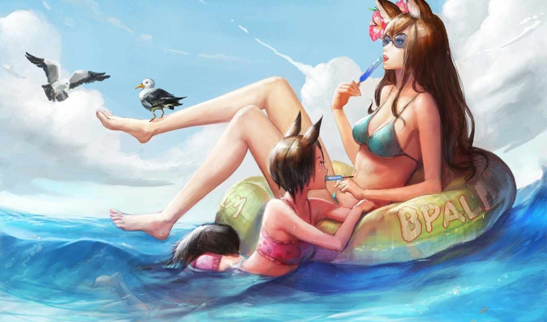 anime, neko, art, девушки, море, чайки, очки, нравится,