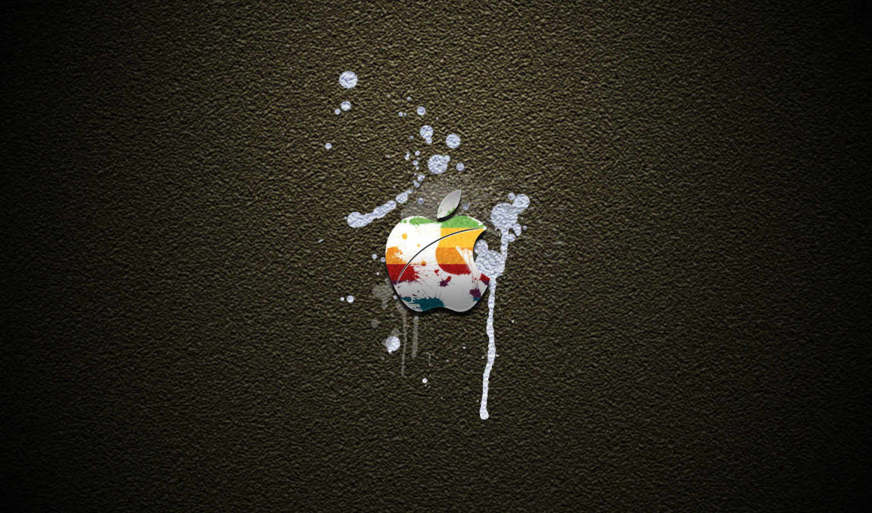 apple, лого, радужный, брызги, краска, белый, штукатурка, серый
