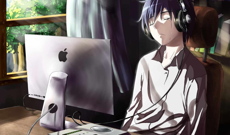 парень, anime, компьютер, cry, грусть, комната, взгляд,