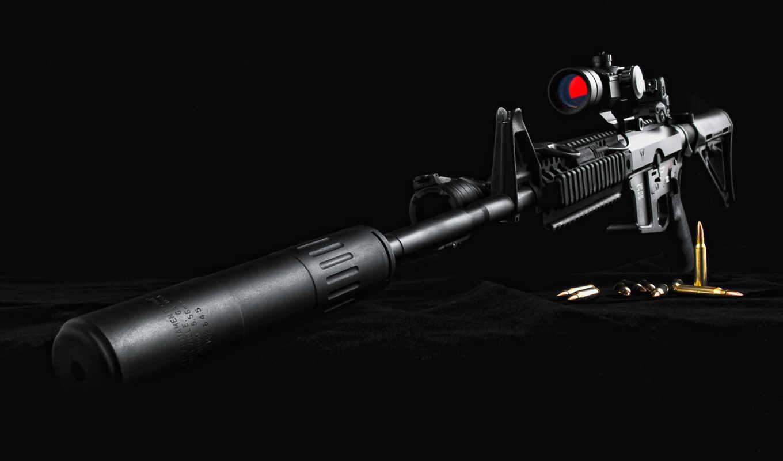 винтовка, снайперская, глушителем, высокого, качества,