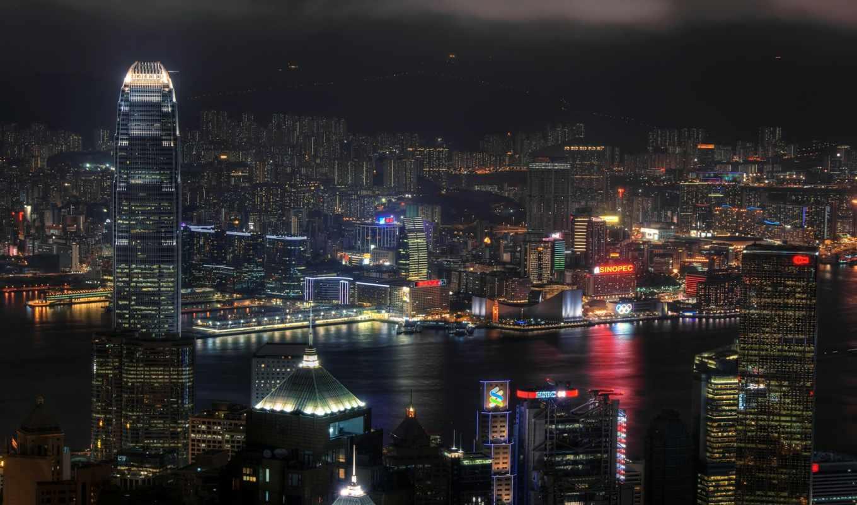 город, ночь, full, desktop, огни, high,