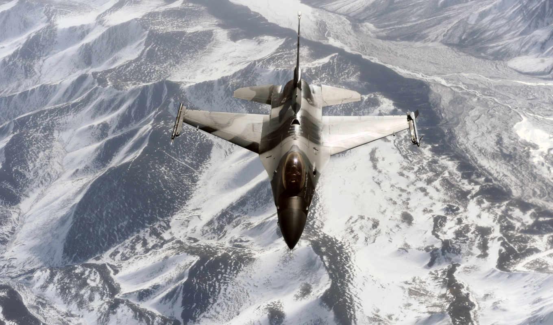 картинка, горы, полет, истребитель, самолёт,