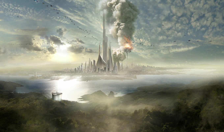 fantasy, взрыв, город, places, дымка, корабли, шпиль, облака, остров, images, tweet,
