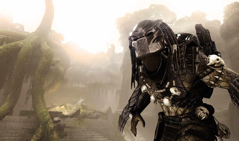 predator, aliens, чужой, трофеи, руины, деревя, против, статуя, корни, хищника,