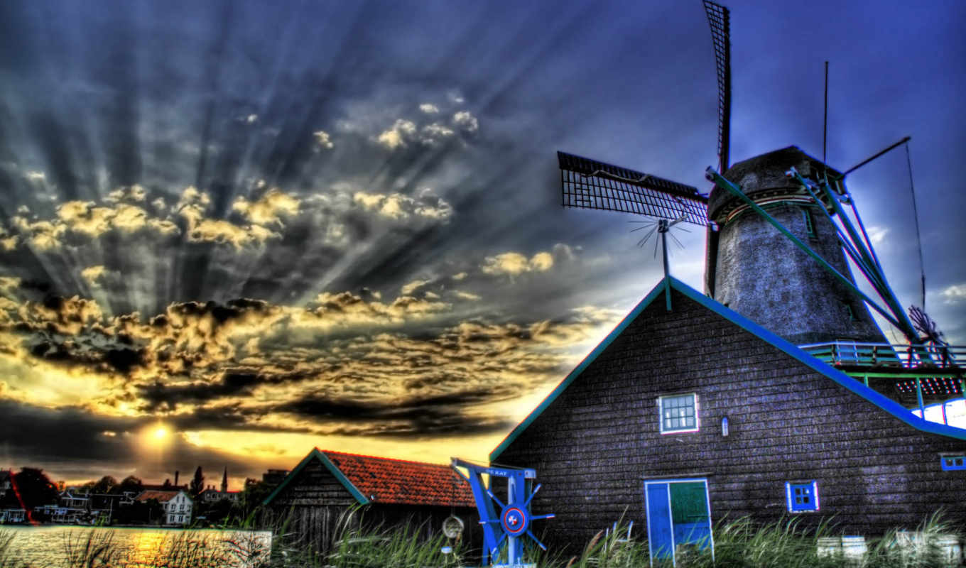 мельница, windmill, images, hdr, links, background, screensaver,