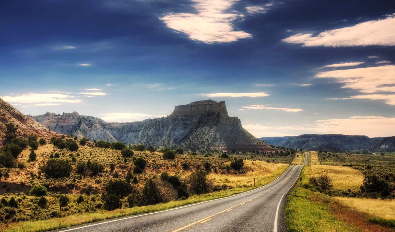 дорога, пустыня, каньоны, небо, картинка, пейзаж, шоссе, скалы, фотографии, облака, придорожный,
