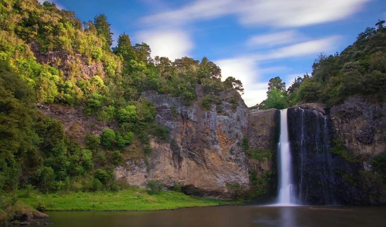 водопад, скалы, природа, пейзажи, разрешением, вода, widescreen, download, картинка, зеландии, свежесть,