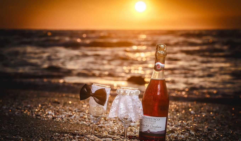 ,бокалы, вино, море