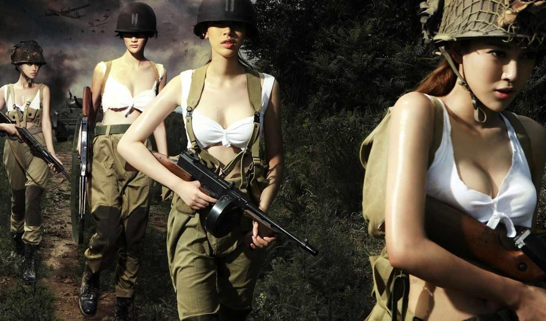 war, оружие, автоматы, девушки, походе, fy,